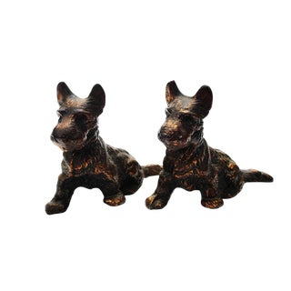 Antique Bronze Scottie Dog Bookends - A Pair