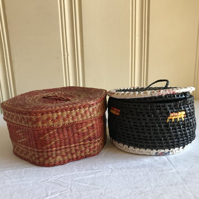 Natural Woven Boho Basket Boxes - A Pair - Image 9 of 10