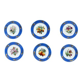 Paris Porcelain Botanical & Fruit-decorated Set of Six Plates