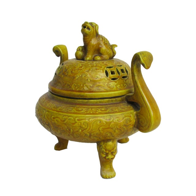 Chinese Yellow Glaze Ceramic Incense Burner - Image 2 of 6