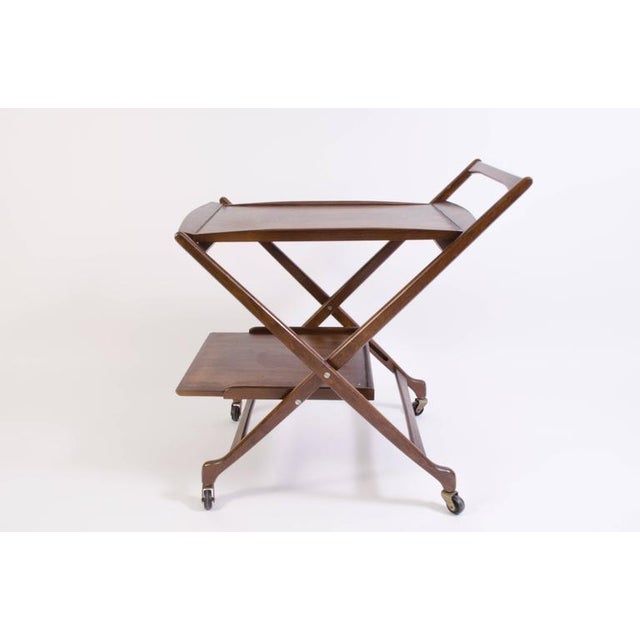 Danish Folding Walnut Bar Cart with Serving Tray - Image 4 of 10