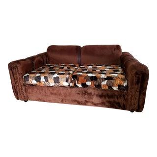 1970s Vintage Brown Fur/Orange Patchwork Pattern Loveseat