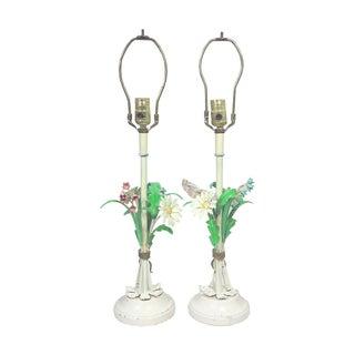 Floral Tole Table Lamps - A Pair