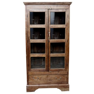 British Colonial Glass Paneled Cabinet