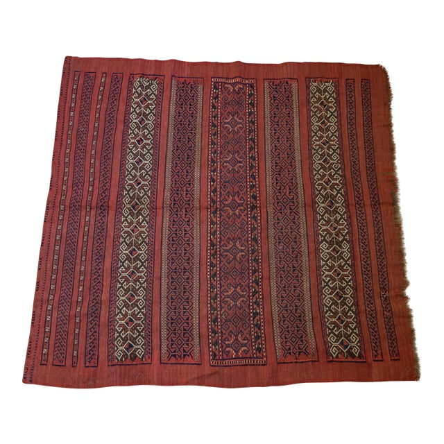 "Vintage Turkish Aztec Print Rug - 5'1"" x 5'3"" - Image 1 of 8"