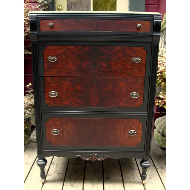 19th C Black Flame Walnut Tall Dresser Chairish
