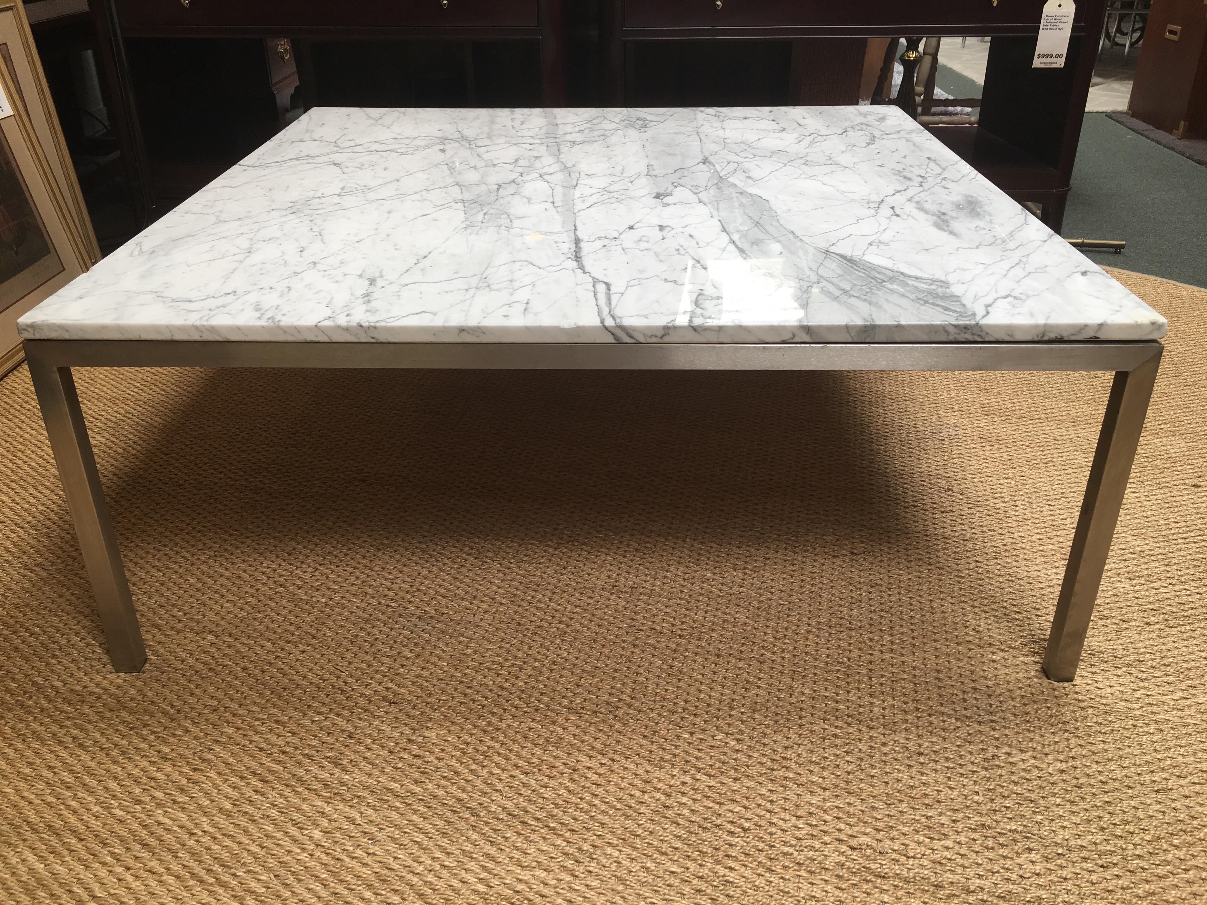 Crate U0026 Barrel Square Stainless Steel U0026 Marble Top Coffee Table   Image ...