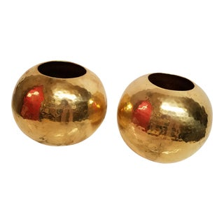 Mid-Century Hammered Brass Spheres Vases - A Pair
