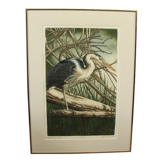 Sueellan Ross Hand Colored Etching of Blue Heron