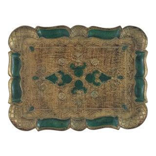 Italian Florentine Gold & Green Tray