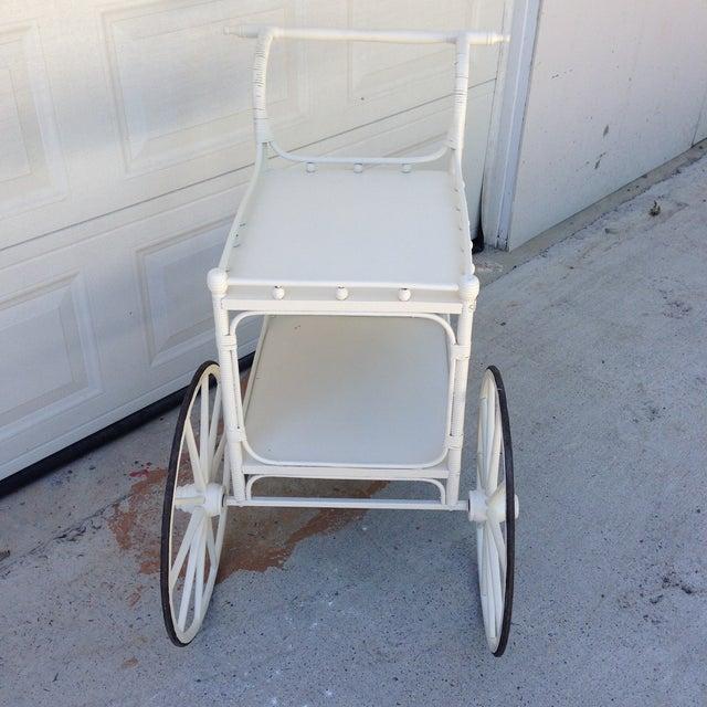 Vintage Heywood-Wakefield Wicker Bar Cart - Image 5 of 6