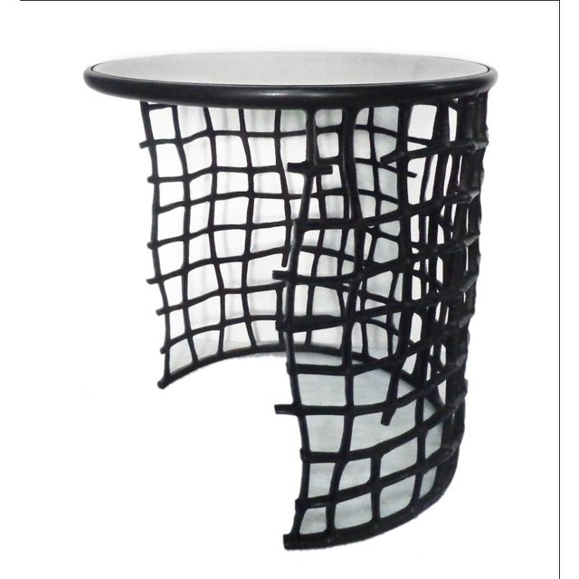 Round metal side nesting table glass top 2 chairish for Glass top nesting tables