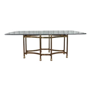 Vintage Mastercraft Mid Century Brass & Glass Dining Table