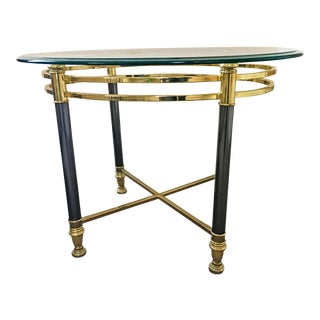 Vintage Brass & Glass Oval Side Table