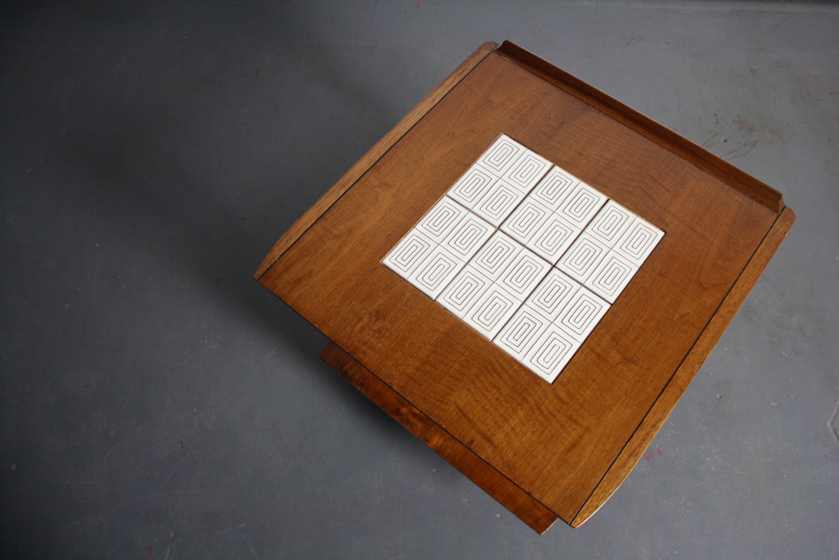 Mid Century Lane Teak End Table With Tile Inlay   Image 3 Of 5