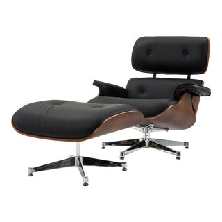 Pasargad's Florence Black Leather Lounge Chair