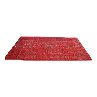 Overdyed Red Turkish Area Carpet - 5′4″ × 9′3″
