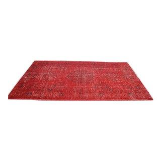 Overdyed Red Turkish Area Carpet - 5′4″ × 9′3″