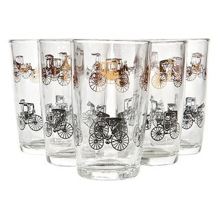 1960's Black & Gilt Carriage Tumblers - Set of 5