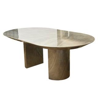 Karl Springer Lacquered Goatskin Oval Dining Room Table/LIbrary Table/ Desk