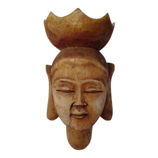 Mid-Century Carved Wood Buddha Head