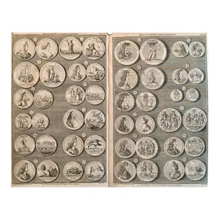 Original 1745 British Engravings, Medals of King William & Queen Mary - Set of 2
