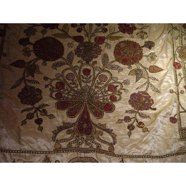 Large Ottoman Large Silkwork Textile Botanical Embroidery Hanging - Image 4 of 9