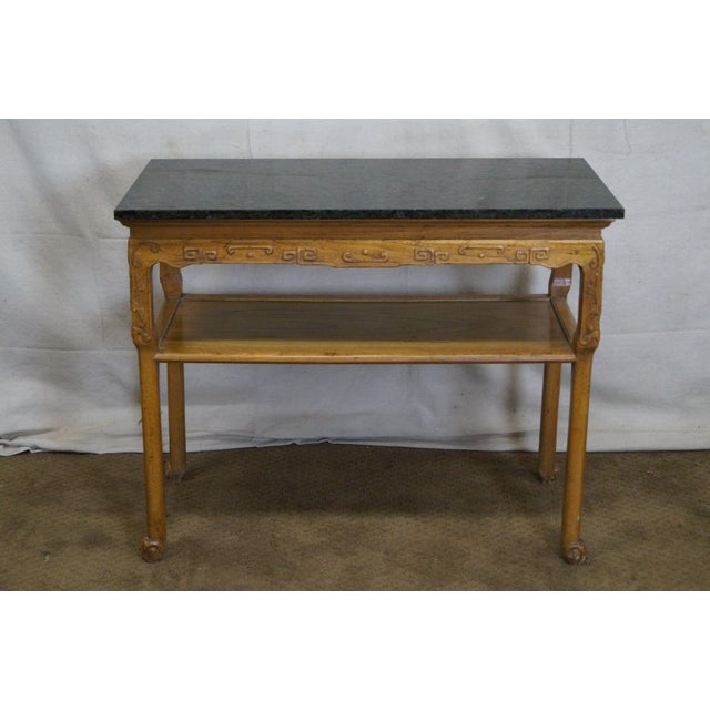 Baker Furniture Carved Teak Chinese Style Granite Top Console Table - Image 2 of 10