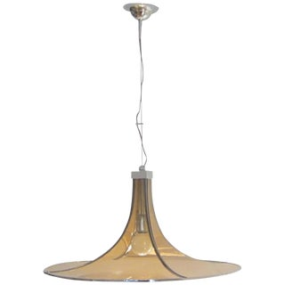 Italian Amber Glass & Chrome Hanging Light Fixture
