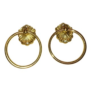 Vintage Brass Hand Towel Rings- A Pair