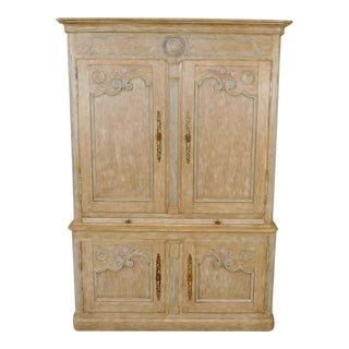 Country French Baker Furniture Paint Decorated Armoire Bar Cabinet