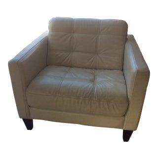 Mid-Century Italian Ivory Leather Chair