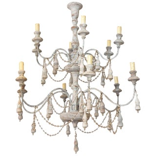 Italian Two-Tier Chandelier Strung with Beads and Tassels