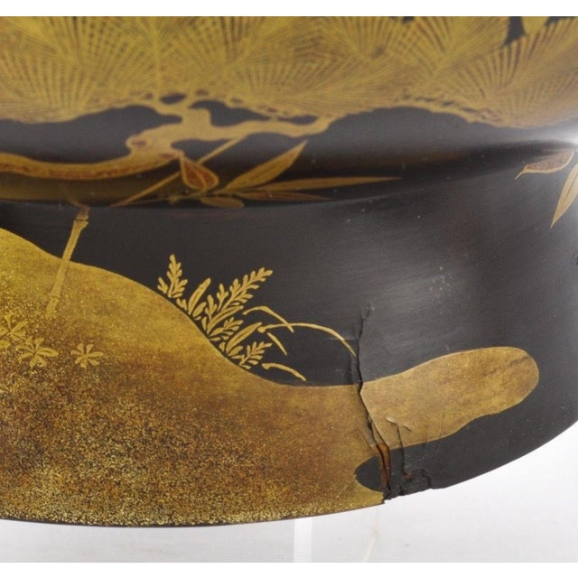 Antique Japanese Maki-E Lacquer Center Bowl - Image 5 of 6