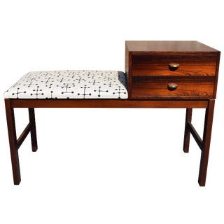 Vintage Danish Mid Century Modern Rosewood Telephone Bench/Entry Way Console
