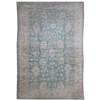 Light Green Patterned Oushak Rug - 9′10″ × 13′10″