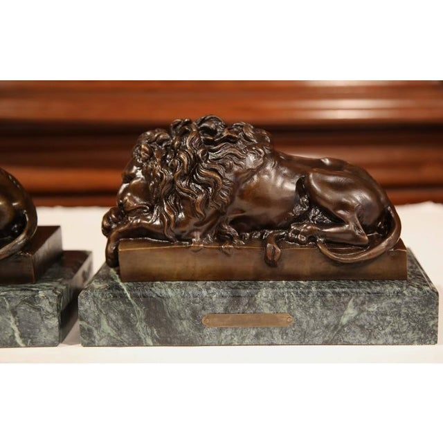 19th Century French Bronze Lions on Marble Bases Signed J. Moigniez - a Pair - Image 7 of 10