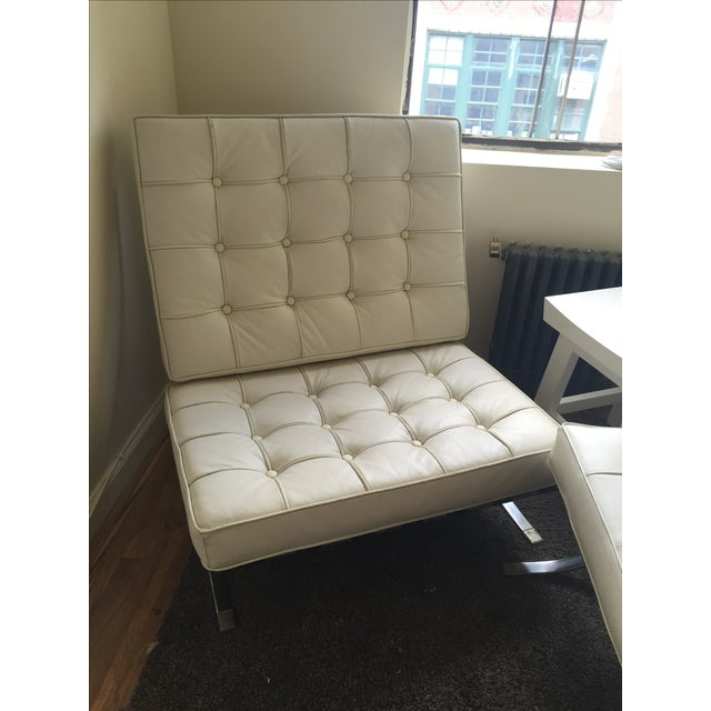 Mid-Century Leather Barcelona Chair And Foot Stool - Image 3 of 7