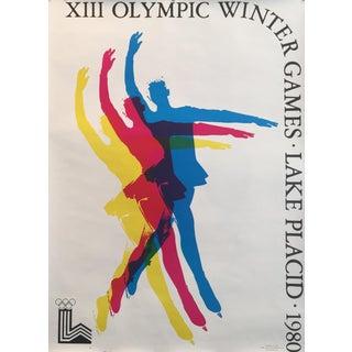 1980 Original Vintage Lake Placid Winter Olympics Poster, Skating