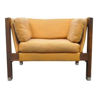 Mid-Century Modern Rowe Walnut & Chrome Sling Cube Club Chair