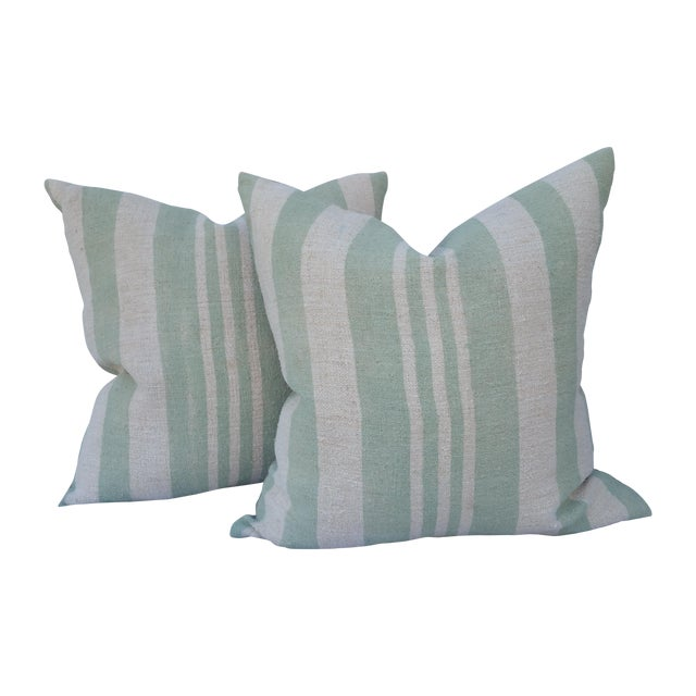 Sage Striped Grain Sack Pillows - Pair - Image 1 of 5