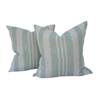 Sage Striped Grain Sack Pillows - Pair