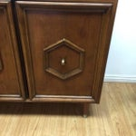 Image of Mid-Century Hexagon Detail Wood Credenza