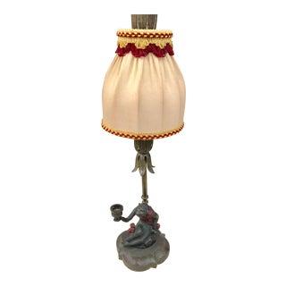 Vintage Bronze Monkey Lamp With Silk Embellished Shade
