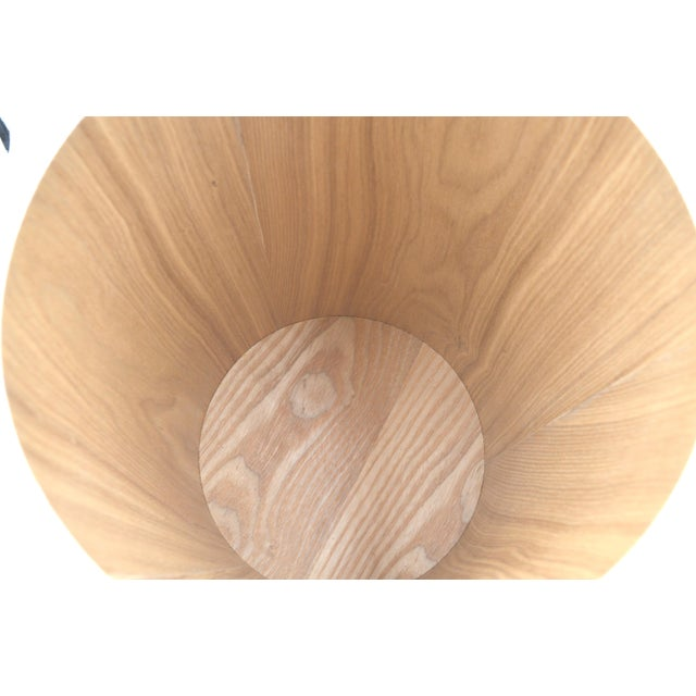 Japanese Bamboo Wood Waste paper Basket Bin With Lid Circular - Image 4 of 6