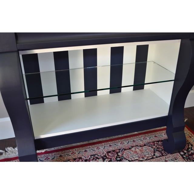 Antique Empire Buffet Bar in Navy Blue & White - Image 5 of 8