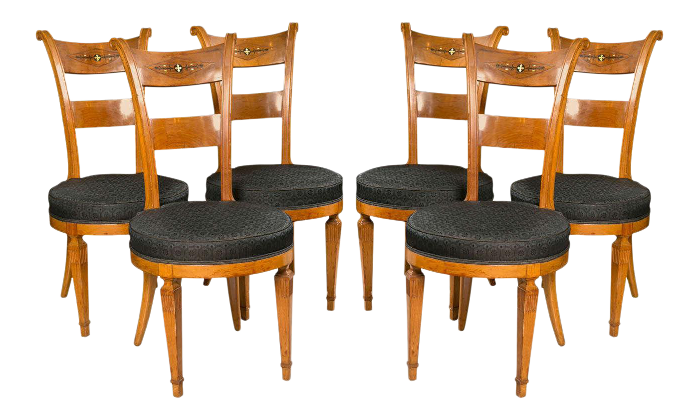 Biedermeier Style Side Chairs   Set Of 6