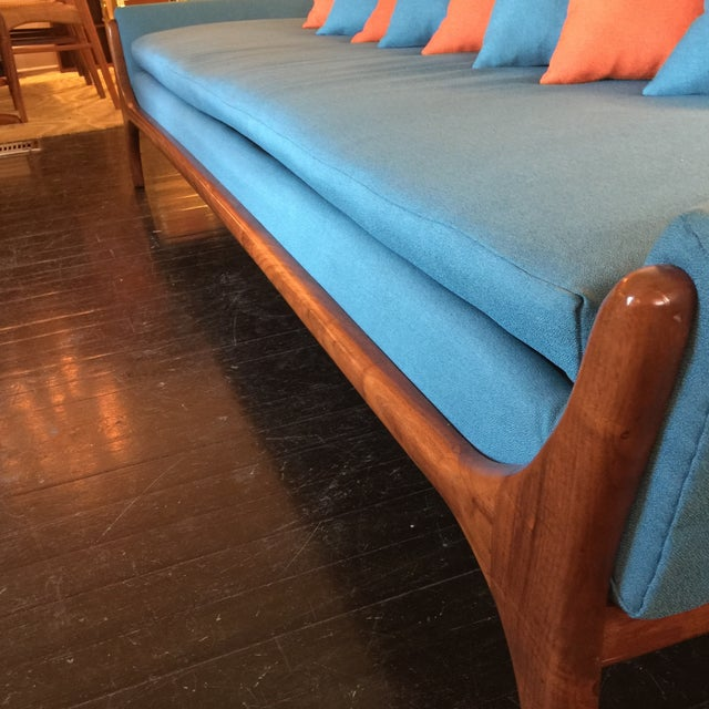 Reupholstered Danish Modern Wing Arm Sofa - Image 10 of 10