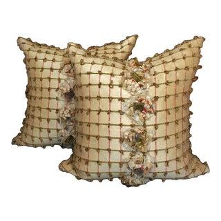 Pale Yellow Silk Pillows - a Pair