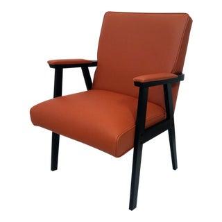 Mid-Century Style Orange Vinyl Armchair